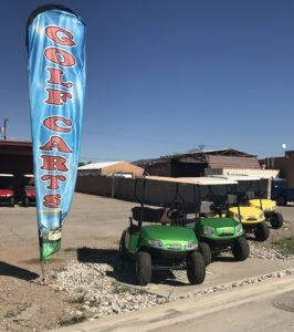 golf cars with flag